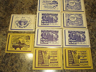"""lot of 10 u.s. drive in teasers    1950's     4"""" by 5""""     RARE)"""