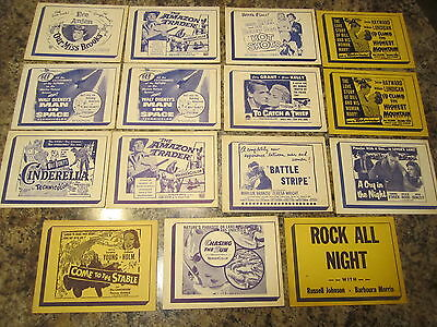 """lot of 15      u.s. drive in teasers    1950's     4"""" by 5""""     RARE)"""