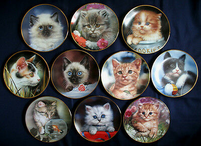 10 FULL SET Plates CAMEO KITTENS By QUA LEMONDS Cat Kitty Hamilton Collector