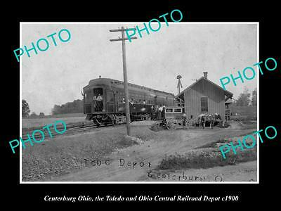 OLD LARGE HISTORIC PHOTO CENTERBURG OHIO, VIEW OF THE RAILROAD DEPOT c1900