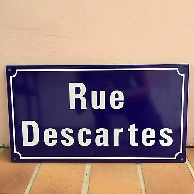 French Street Enameled Sign Plaque - rare AWESOME DESCARTES