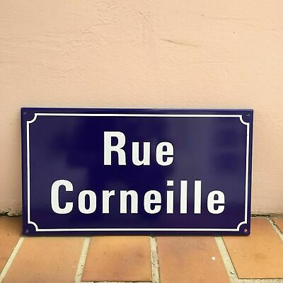 French Street Enameled Sign Plaque - rare AWESOME CORNEILLE