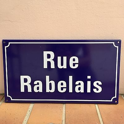 French Street Enameled Sign Plaque - rare AWESOME RABELAIS