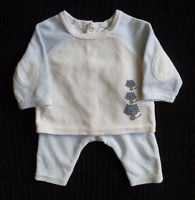 Baby clothes BOY newborn 0-1m Vertbaudet outfit velour top/trousers COMBINE POST
