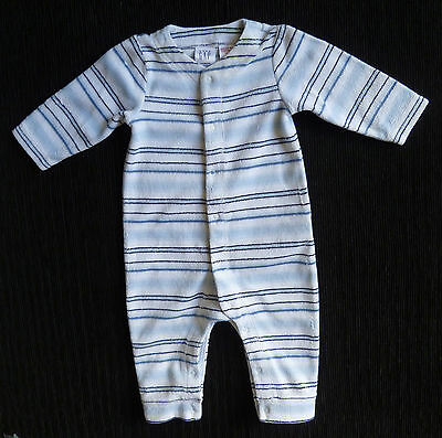 Baby clothes BOY newborn 0-1m GAP soft velour striped babygrow 2nd item postfree