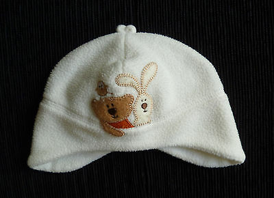 Baby clothes BOY GIRL 3-6m cream fleece cotton-lined bear hat Ladybird SEE SHOP