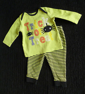Baby clothes BOY 3-6mHalloween outfit lime green/black spiders 2nd item postfree