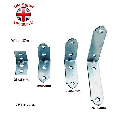 Right Angle Bracket L Corner Brace 25/40/50/75mm Mending Galvanised Plates 17mm