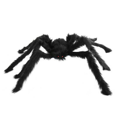 Large Hairy Poseable Black Spider ~ HALLOWEEN INDOOR OUTDOOR SPIDER DECORATION