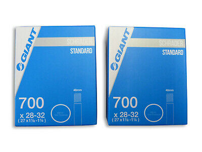2x (PAIR) Giant 700 x 28-32C Schrader Bike Tubes. Suits 700C x 28C 32C Hybrid
