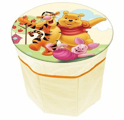 Disney Winnie the Pooh Fold Flat Storage Stool. 27 x 27 cm Child Bedroom Toy Box