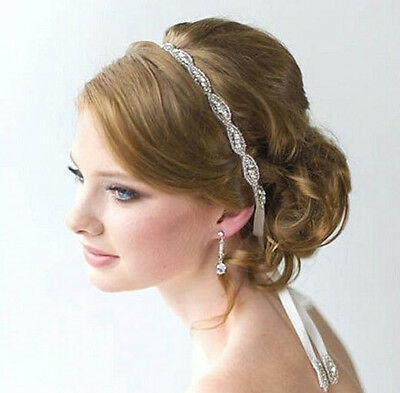 White Satin Ribbon Crystal Beaded Headband Hair Band Headpiece Wedding Bridal