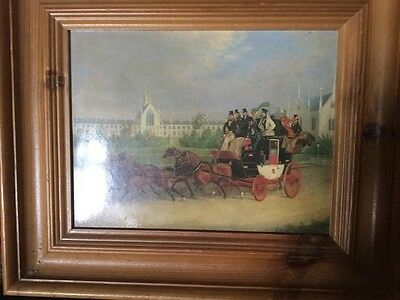 Lovely Framed Oil Like Print Coach And Horses Scene With Group Of Top Hat Riders