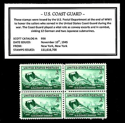 1945 - U. S.  COAST GUARD - Vintage (WWII)  Mint -MNH- Block of Postage Stamps
