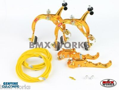 Dia-Compe MX1000 - MX120 Gold Brake Set - Old Vintage School BMX Style Brakes