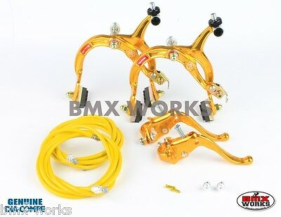 Dia-Compe MX1000 - MX123 (Tech-4) Gold Brake Set - Old Vintage School BMX