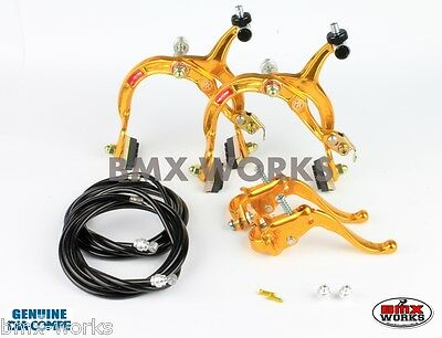 Dia-Compe MX1000 - MX123 (Tech-4) Gold & Black Brake Set Old Vintage School BMX