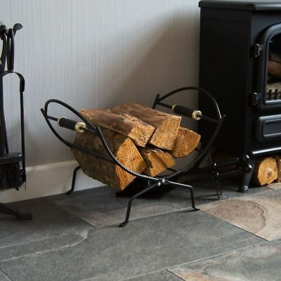 Folding Log Holder Black Fireside Iron Rack Fire Wood Carrier By Home Discount