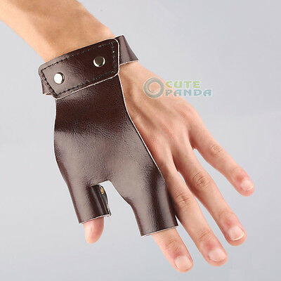 Longbow bow-hand 2 Finger glove Hand Protector Archery Hunting Guard Leather