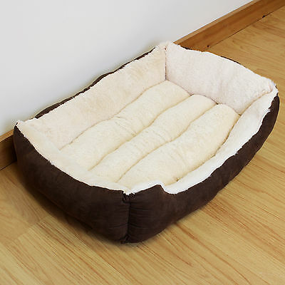 Super Soft Small Cosy Washable Dog Bed Brown & Beige Pet/Puppy/Cat/Kitten/Fleece