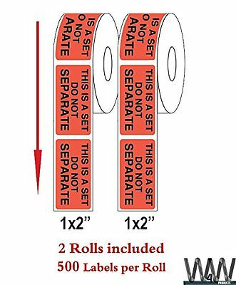 """High Quality """"THIS IS A SET - DO NOT SEPARATE""""  1000 Self Adhesive Stickers RED"""