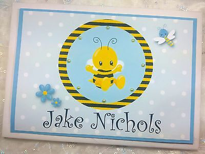 Personalised Christening Baptism Baby Handmade Guest Book Album Bumblebee