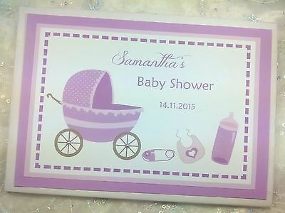 Personalised New Baby Shower Baby Christening Guest Book Baptism Naming Day Pram