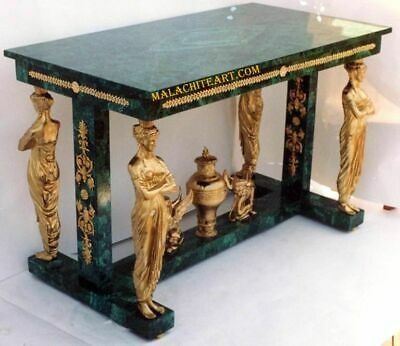 Antique Malachite & Bronze Empire Table