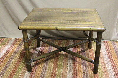 Genuine Vintage McGUIRE San Francisco Bamboo Rattan End or Side Table 21x24x30