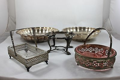 Silver Plated Lot Chafing Dish Candy Scalloped Pink Crystal Glass Gorham
