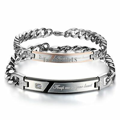 Men Women Couples Stainless Steel Keep Me in Your Heart Bracelet Valentine Gift