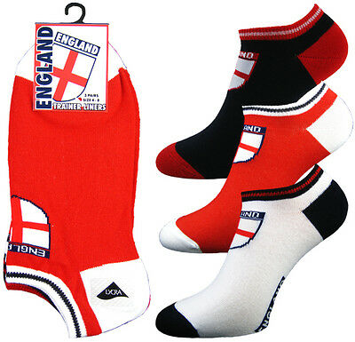 3 Pairs Of Mens England St George Trainer Ankle Sport Socks With Union Jack