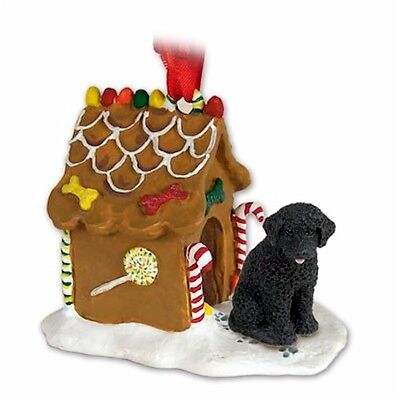 Hand Painted Elegant Portuguese Water Dog Gingerbread House Ornament