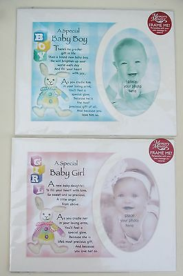 """BABY GIRL / BOY 10""""x8"""" PHOTOMOUNT WITH VERSE FOR 5""""X3.5"""" FIRST PHOTO/CHRISTENING"""