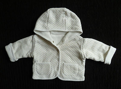 Baby clothes UNISEX BOY GIRL 0-3m white/beige spot jacket hood reversible white