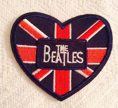 The Beatles Embroidered Iron On  Patch Heart British Flag--