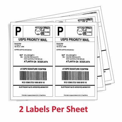 200-4000 Half Sheet 8.5x5.5 Shipping Labels 2/Sheet Self Adhesive For USPS
