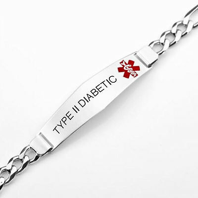 Personalized Silver Stainless Steel Medical Alert Figaro Id Bracelet Engraved