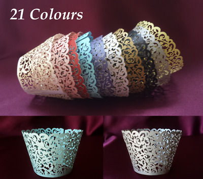 50x Laser cut Cupcake Wrappers Cupcake Wrap Wedding Christening Party 21 Colours