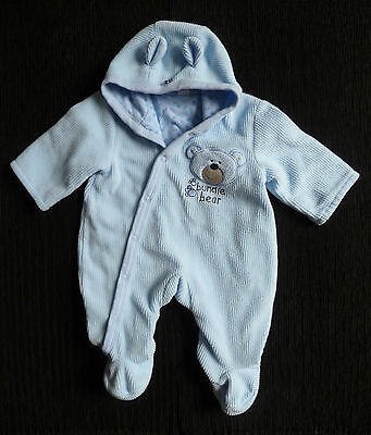 Baby clothes BOY 0-3m Blue bear pramsuit hood cotton-lined COMBINE POSTAGE!