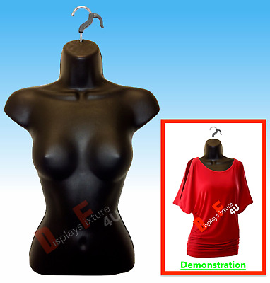 1 Mannequin + 1 Hook, Female Black Dress Body Form - Display Women Clothing New