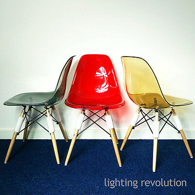 Ghost Style Eames inspired DSW Dining Chair Transparent Amber Red Smoke Designer