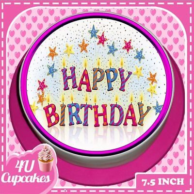 Precut Happy Birthday Pink Candles 7.5 Inch Round Edible Cake Topper Cc7357