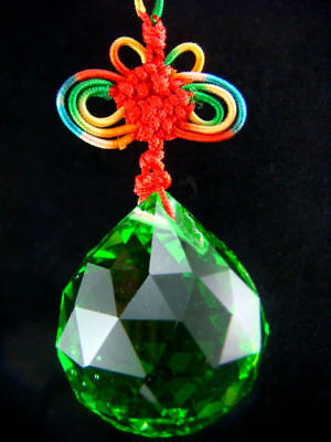Feng Shui 40MM Faceted Crystal Green Ball Charm W Pouch V1025