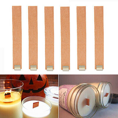 10Pcs 19mm x 130mm Candle Wood Wick With Sustainer Tab Candle Making Supplies