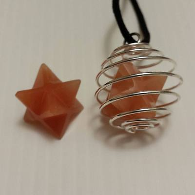 Merkaba Star Pendant ~ Orange Adventurine