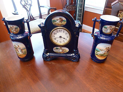 Antique Seth Thomas 8 Day Garniture Set Cobalt Blue Porcelain Courting Scenes