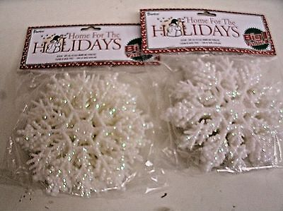 20 pc. Plastic Snowflake Ornaments - WHITE w/ iridescent Glitter 4""
