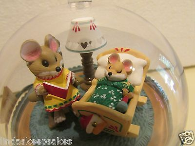 1989 Hallmark Lighted Ornament QLX7272 BABY'S FIRST CHRISTMAS dated MICE rocking