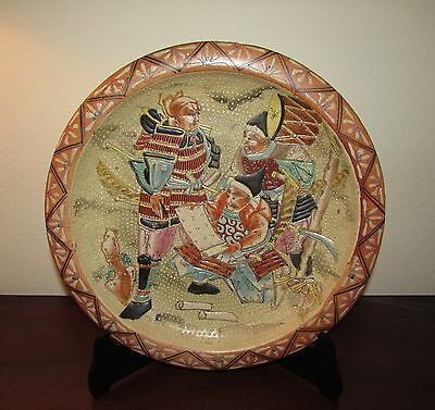 Antique Japanese Seto stoneware charger Samurai 19th 14 inches